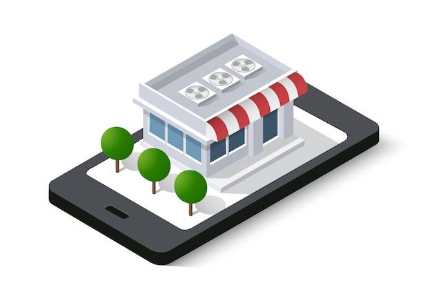 Loja on-line do telefone móvel da cidade isométrica Vetor Premium