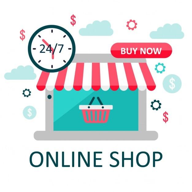 Loja on-line ilustração ecommerce vector illusustration Vetor grátis