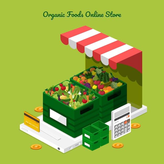 Loja online de frutas e legumes Vetor Premium
