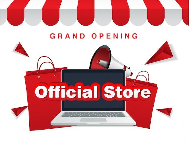 Loja online oficial, inauguração. fundo de venda Vetor Premium