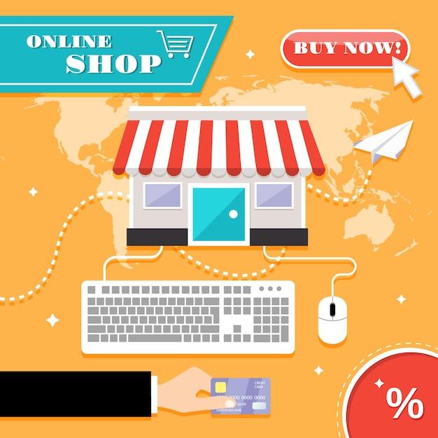 Loja online Vetor Premium