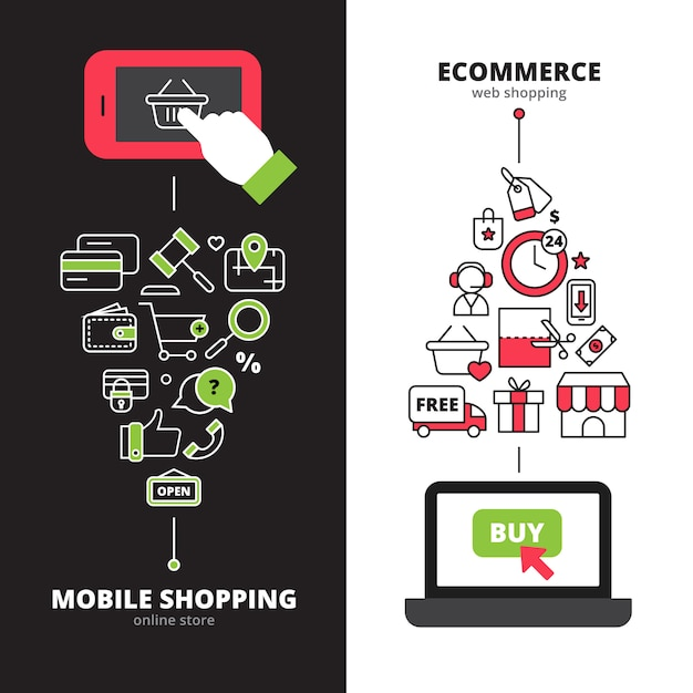 Lojas on-line, pagamento seguro, serviço de internet móvel 2 banners verticais conjunto ilustração em vetor abstrato linha isolada Vetor grátis