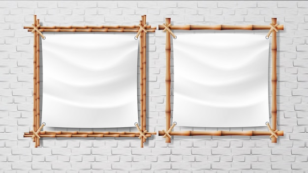 Lona branca em branco no conjunto de quadros de bambu Vetor Premium