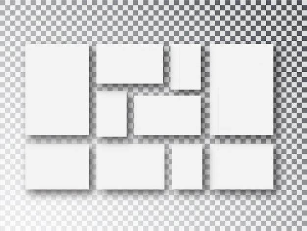 Lona de papel branco em branco ou molduras isoladas em transparente Vetor Premium
