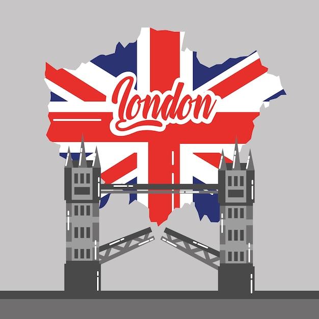 London bridge building map uk landmark Vetor Premium