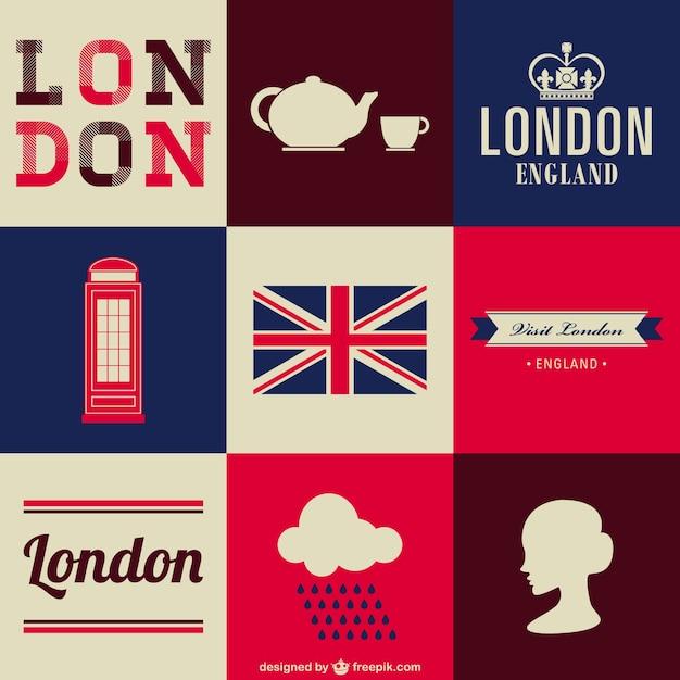 London livre conjunto de símbolos Vetor grátis