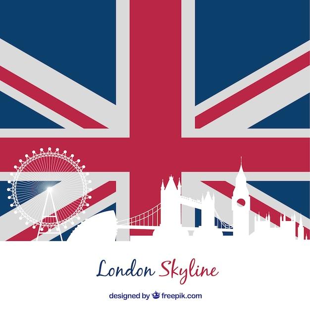 Londres bandeira skyline silhouette Vetor grátis