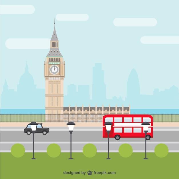 Londres cartoon cidade Vetor grátis