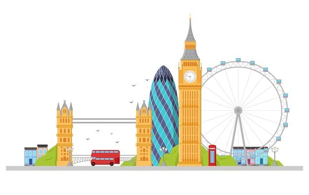Londres detalhou o horizonte. Vetor Premium