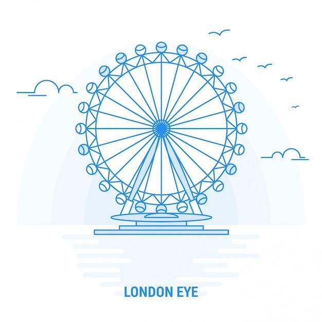 Londres olho azul marco Vetor Premium