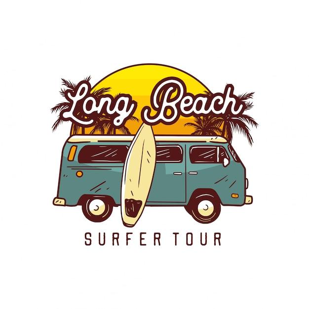 Long surfista surf tour, modelo de logotipo de surf Vetor Premium
