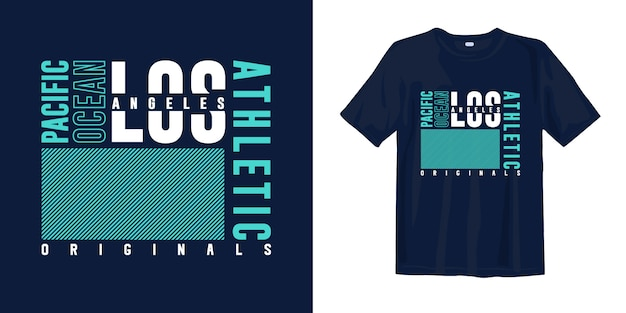 Los angeles, oceano pacífico. tipografia abstrata moda design de t-shirt para impressão Vetor Premium