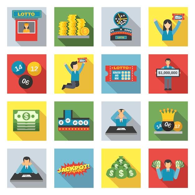 Loteria icons set plano Vetor Premium