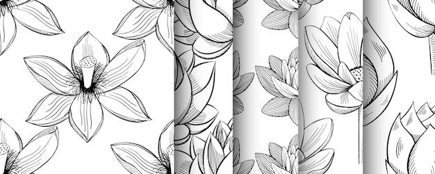 Lotus lírio água flor sem costura padrão definido em um estilo vintage Vetor Premium