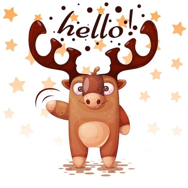 Louco, engraçado, bonito personagens de cervos de papel Vetor Premium