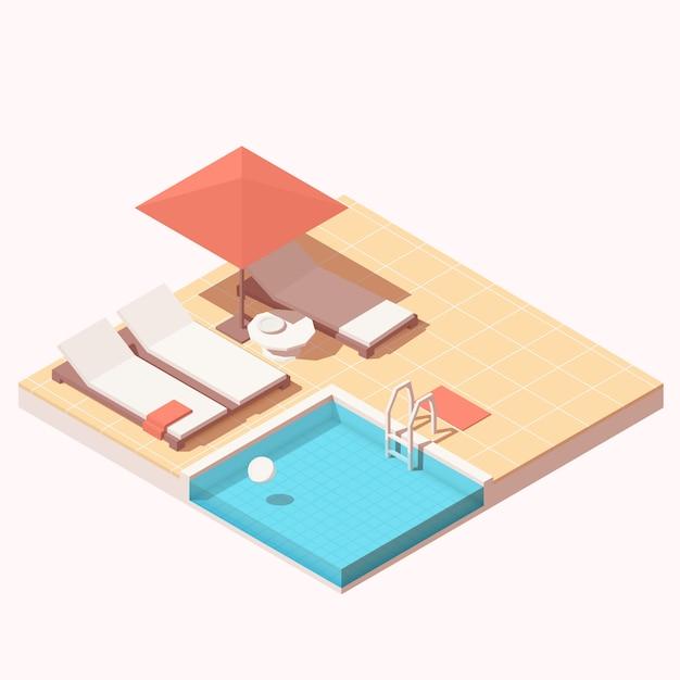 Lounge da piscina ao ar livre do resort isométrico do hotel com espreguiçadeiras na piscina, guarda-chuva e espreguiçadeiras Vetor Premium