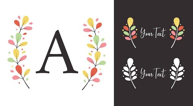 Louro colorido da coroa de flores de outono de tiauna de elementos de folha para logotipo do monograma ou design de ilustração Vetor Premium