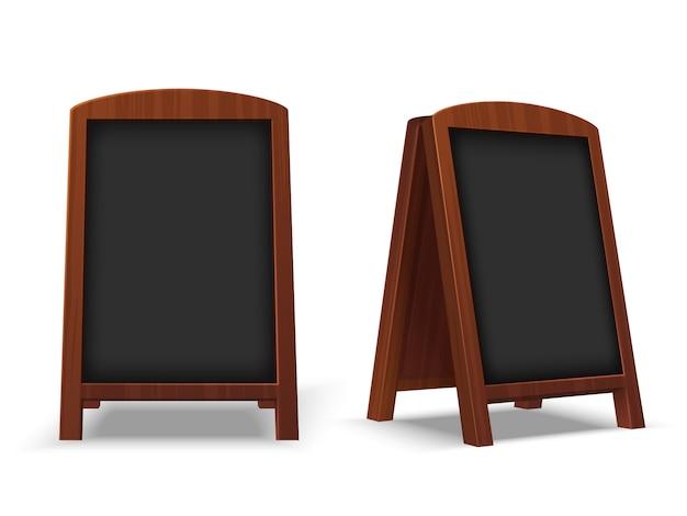 Lousa de calçada. quadro de restaurante ao ar livre com moldura de madeira. café vazio cavalete de mensagens de texto 3d maquete isolado de vetor Vetor Premium