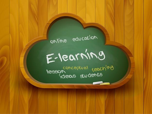 Lousa em forma de nuvem. conceito de aprendizagem. . Vetor Premium
