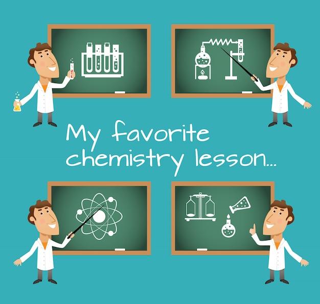 Lousas de aula de química Vetor grátis