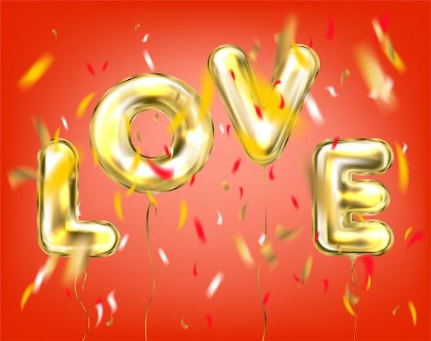 Love lettering by foil golden balloons in red Vetor Premium