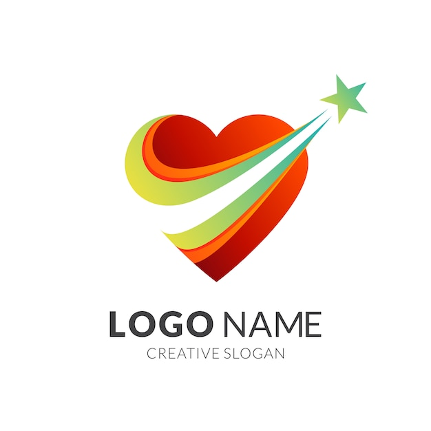 Love star logo design, love and dream Vetor Premium