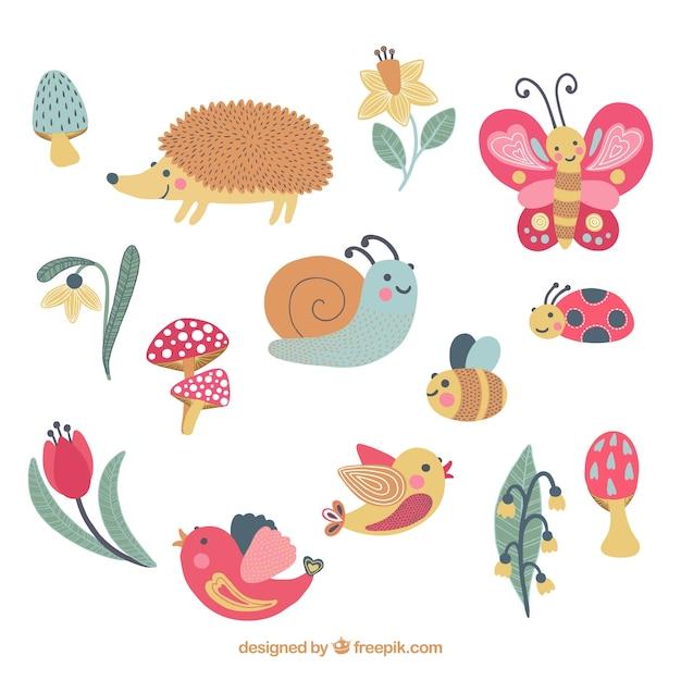 Lovely animals set Vetor grátis