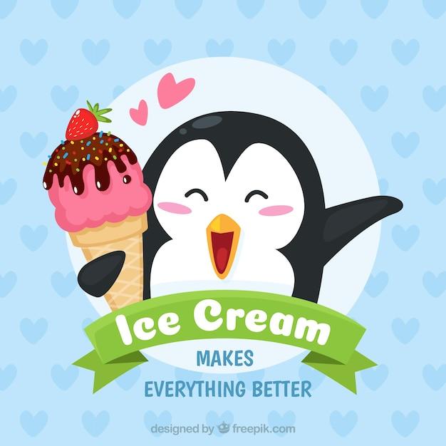 Lovely pinguim fundo com um sorvete Vetor grátis