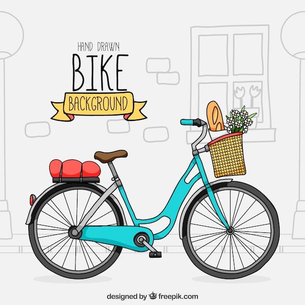 Lovley bike com estilo desenhado à mão Vetor grátis