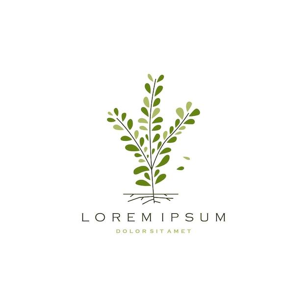 Low tree branch leaf logo vector icon ilustração Vetor Premium