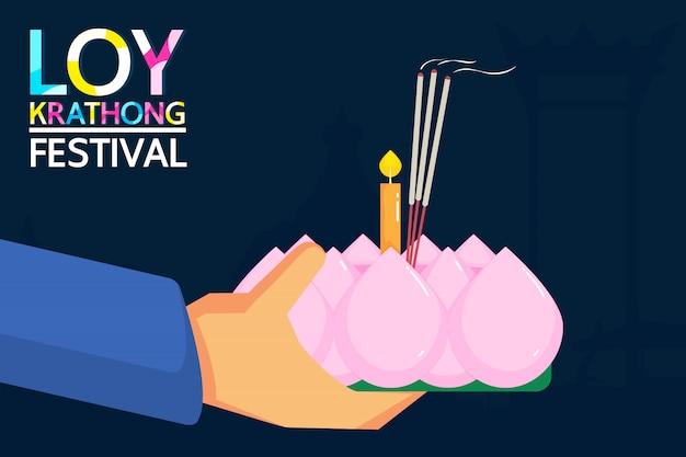 Loy krathong festival Vetor Premium