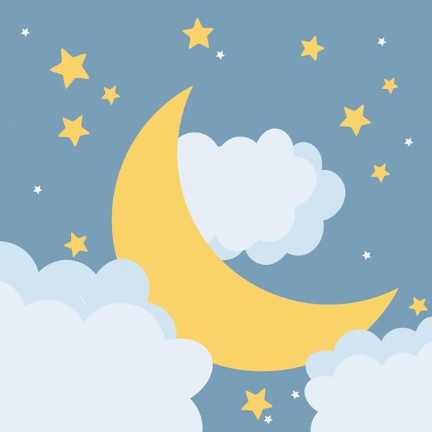 Lua à noite dos desenhos animados Vetor Premium