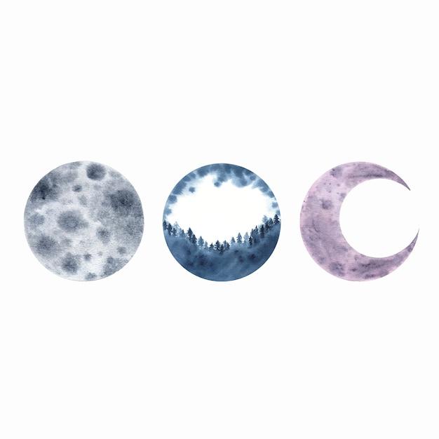 Lua crescente aquarela isolada no branco Vetor grátis
