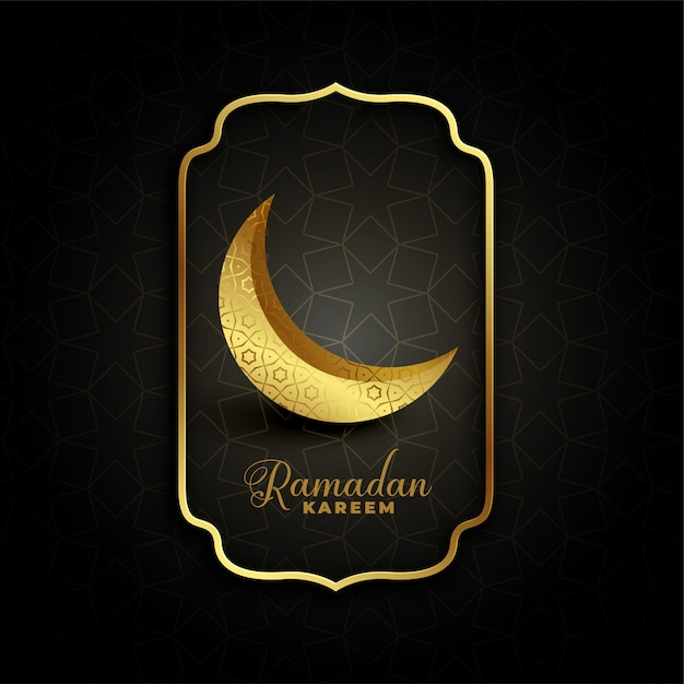 Lua crescente decorativa dourada para ramadan kareem Vetor grátis