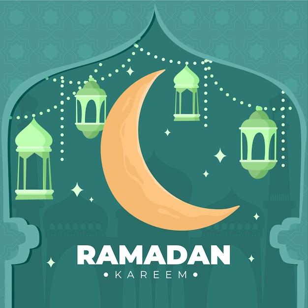 Lua crescente feliz mão desenhada ramadan kareem Vetor grátis