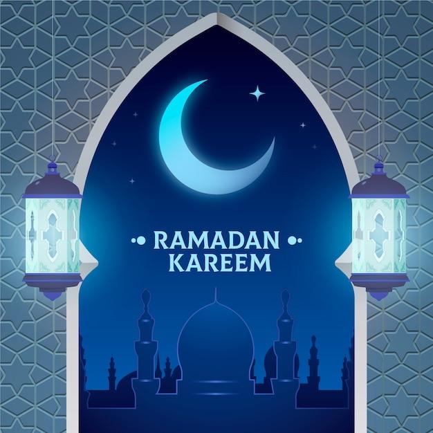Lua crescente feliz ramadan kareem design plano Vetor Premium