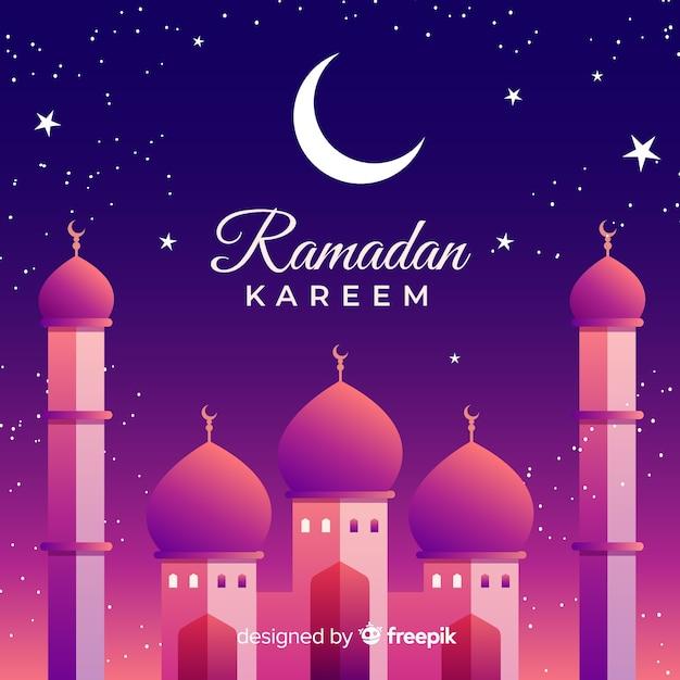Lua crescente ramadan e mesquita árabe Vetor grátis