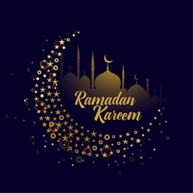 Lua decorativa design ramadan kareem fundo Vetor grátis