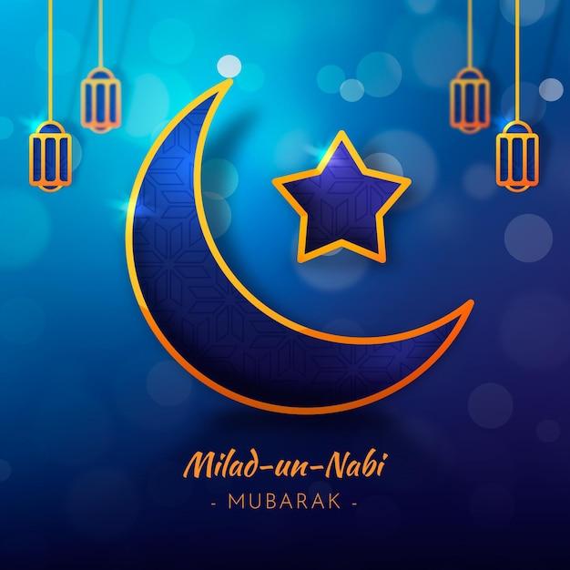 Lua e estrela do cartão milad-un-nabi Vetor Premium