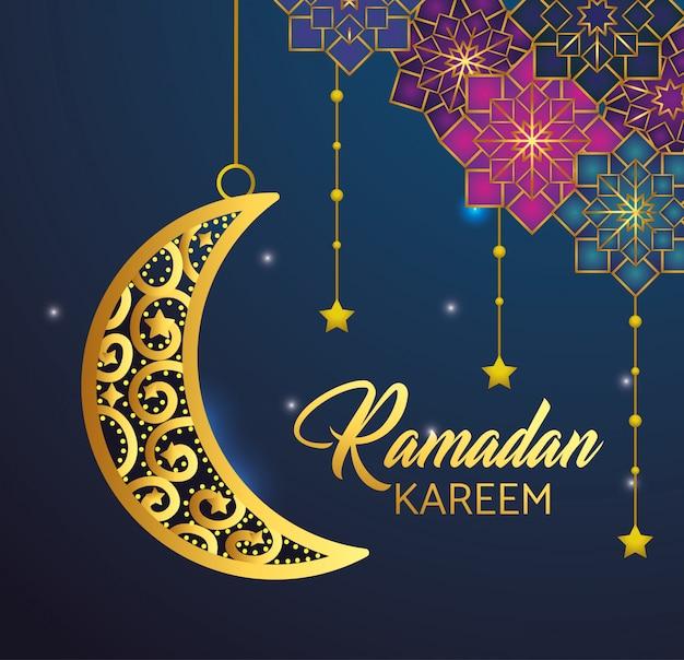 Lua e estrelas penduradas para ramadan kareem Vetor grátis