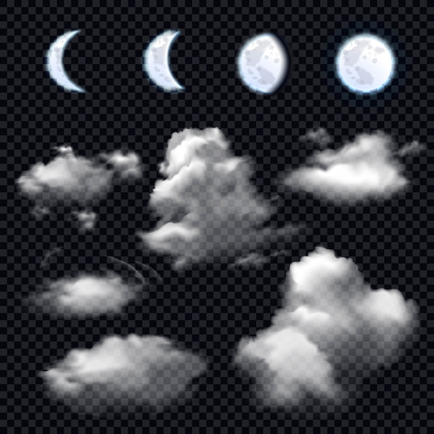 Lua e nuvens em transparente Vetor grátis