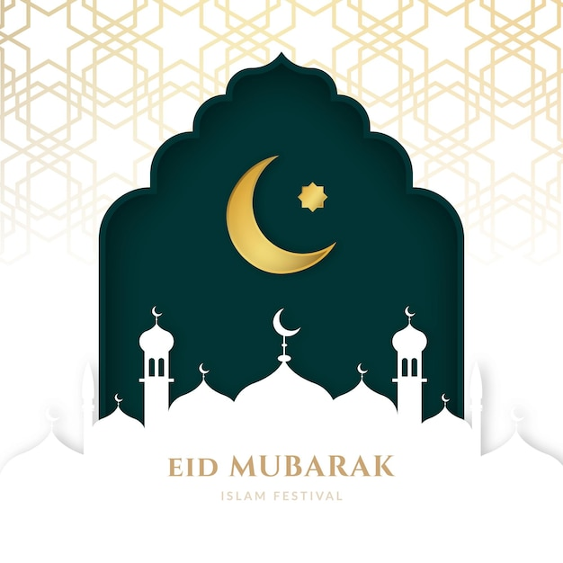 Lua no céu e mesquita realista eid mubarak Vetor grátis