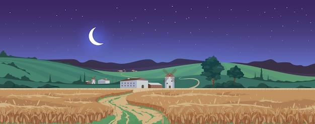 Lua nova acima da ilustração de cor de campos de trigo Vetor Premium