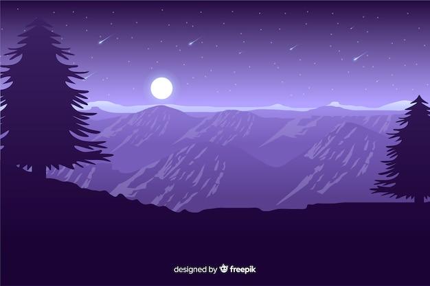 Luar nas montanhas com estrelas cadentes Vetor grátis