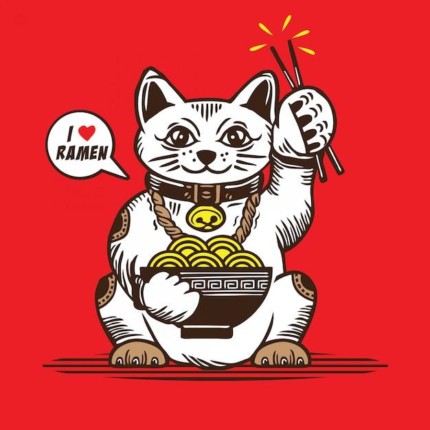 Lucky cat love ramen Vetor Premium