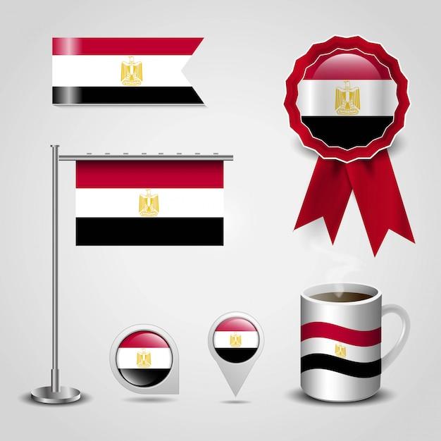 Lugar de bandeira do país de egito no mapa pin, pólo de aço e faixa emblema de faixa de opções Vetor Premium