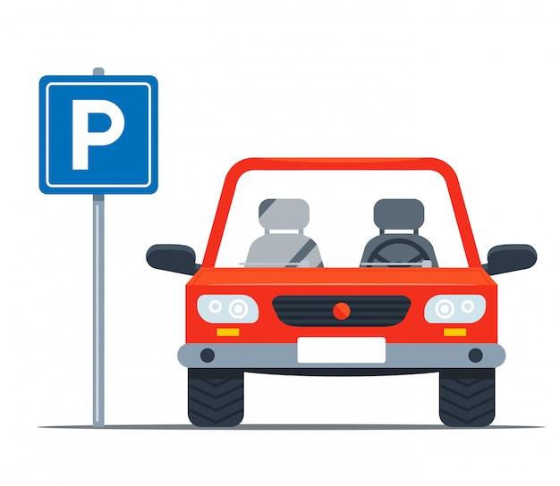 Lugar de garagem para um carro pessoal. placa de ferro na rua. ilustração plana Vetor Premium