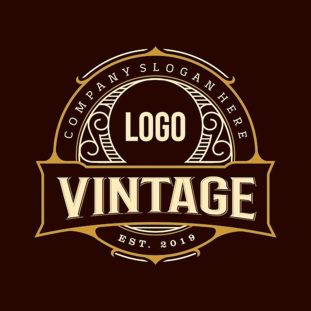 Lugar de logotipo vintage Vetor Premium