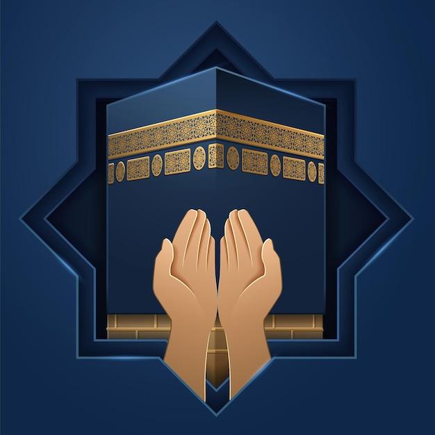 Lugar kaaba com mãos de oração. pedra sagrada de meca e palmas das mãos do homem religioso. fundo de ka hab para feriado al-adha ou eid ul-adha, festival de sacrifício, ramadã. salah orando ou sinal. religião Vetor Premium