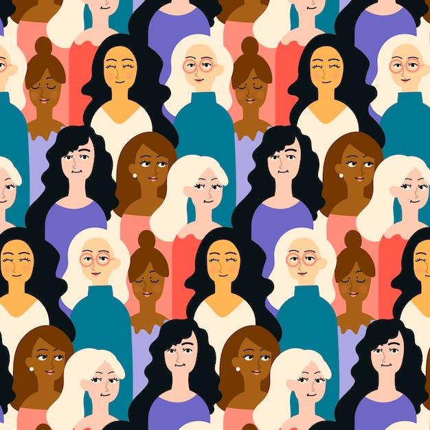 Lugar lotado padrão com rostos femininos Vetor grátis